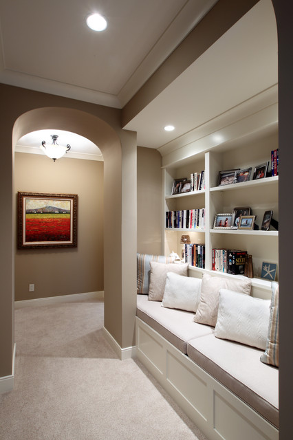 Built-In Bench and Shelves traditional-hall