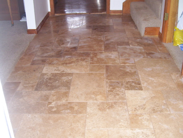 Travertine Flooring Contemporary Entry Kansas City