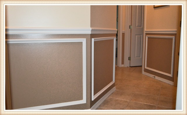 Two Tone Wainscot And Chair Rail Hallway And Landing