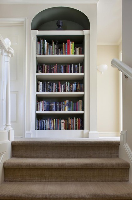 Upstairs built-in bookcase traditional-hall