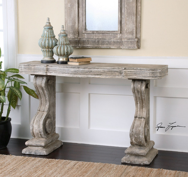 Uttermost Distressed Console Table And Matching Mirror Shabby Chic