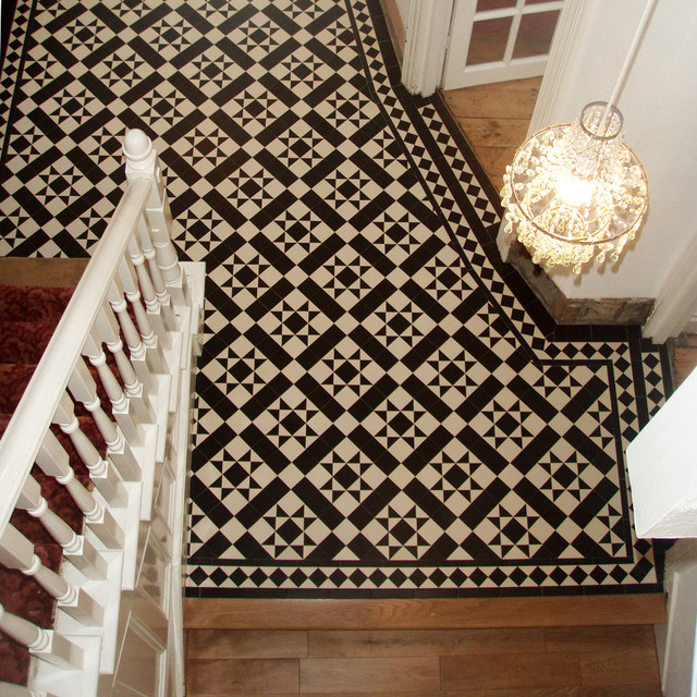 Victorian Geometric Floor Tiles In Hallway