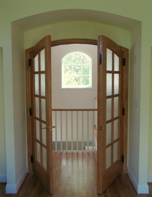 View from master bedroom to hall and front window traditional-hall