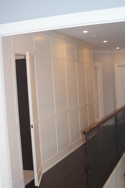 Wainscot wall with hidden door for Hidden bathroom door ideas