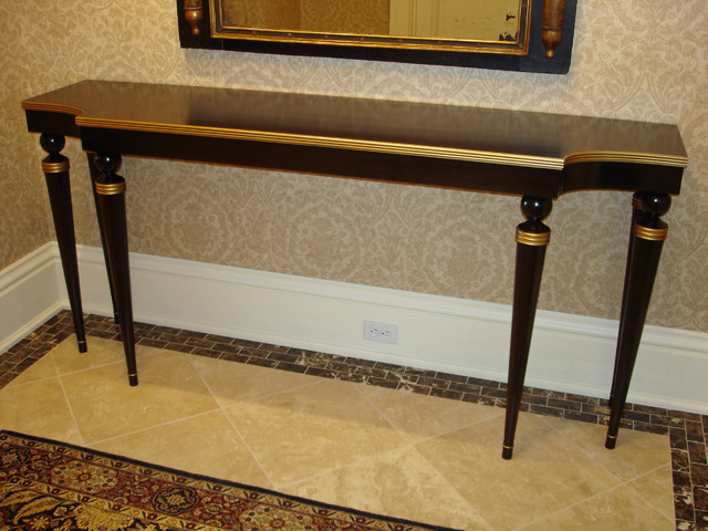 Gold Foyer Table : Walnut gold entry hall table traditional