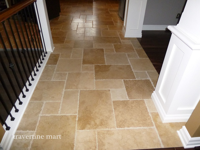 Walnut brushed chiseled travertine tile flooring for Tiled hallway floor ideas