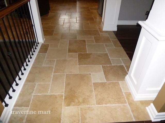 Walnut Brushed Chiseled Travertine Tile Flooring Tiles
