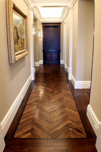 Walnut Floors Anchor Sky High Condo traditional-hall