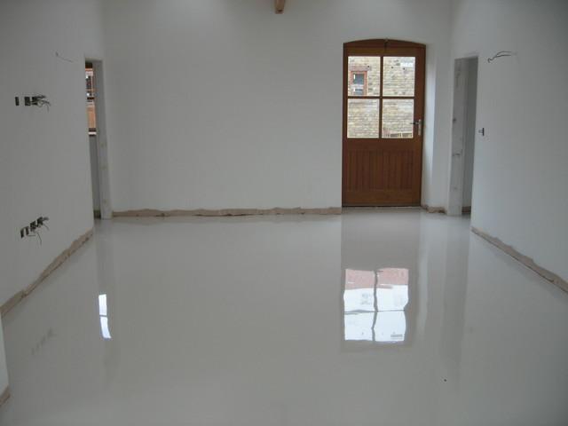 White Poured Resin Flooring Installed At Durham Farmhouse