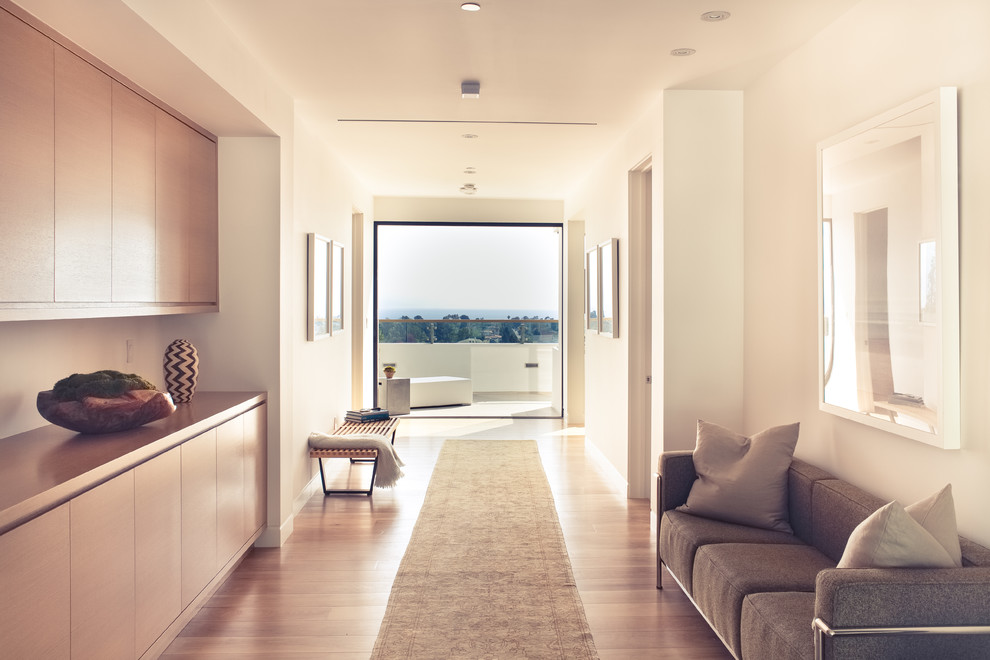 Hallway - large contemporary medium tone wood floor hallway idea in Los Angeles with white walls