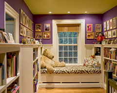 Window seat/reading nook at end of stair hallway traditional-hall
