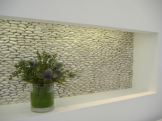 Zen Paradise Standing Pebble Tile Installations Modern Hall