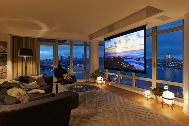 Northside Piers Contemporary Home Theater New York