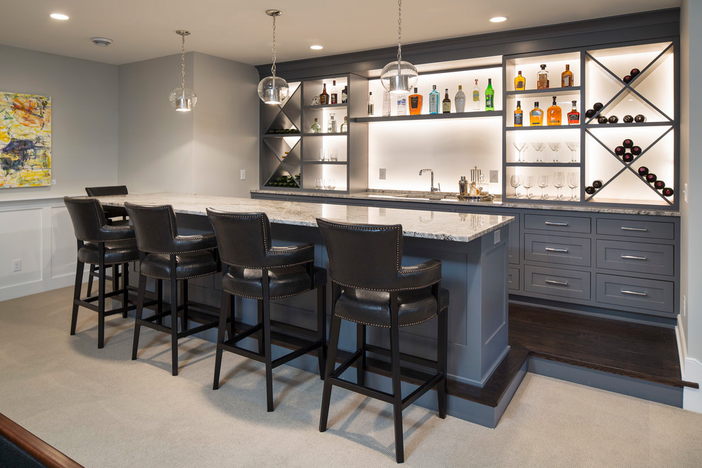 Seated home bar - traditional seated home bar idea in Minneapolis with open cabinets and gray cabinets