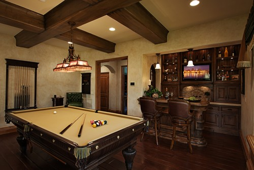 15 homes with amazing pool tables that are anything but an for Family game room ideas