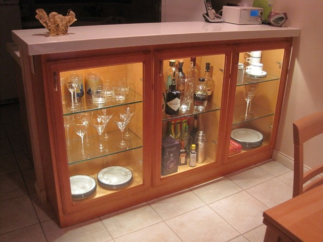 Adding Display Cabinets In Kitchen Dining Area Contemporary Home Bar