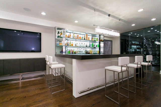African Wenge And Metal Contemporary Home Bar New York