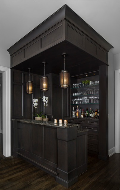 Amw design suffield transitional home bar detroit for Small house design houzz