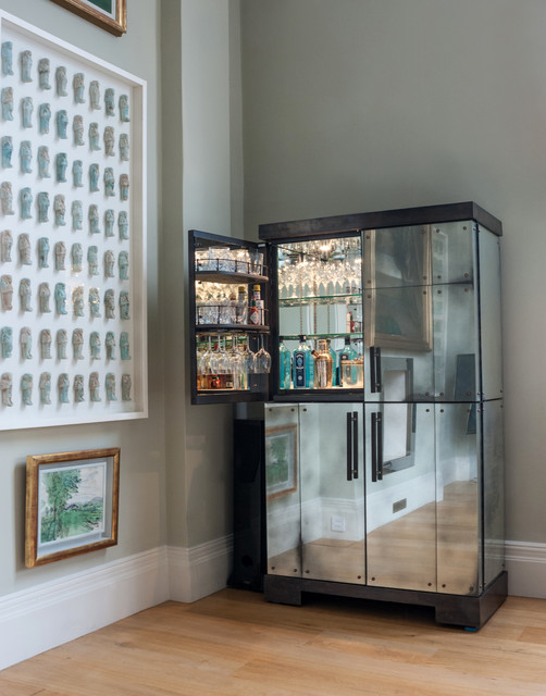 Antiqued Mirror Clad Drinks Cabinet - Modern - Home Bar - London ...