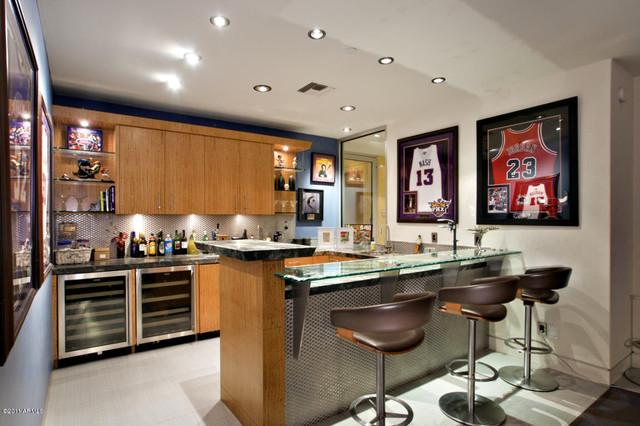 Arcadia Suburban Modern Bar Modern Wine Cellar
