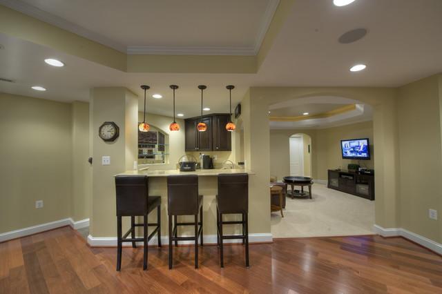 Synergy design construction design build firms - Ashburn Transitional Basement Bar Contemporary Home