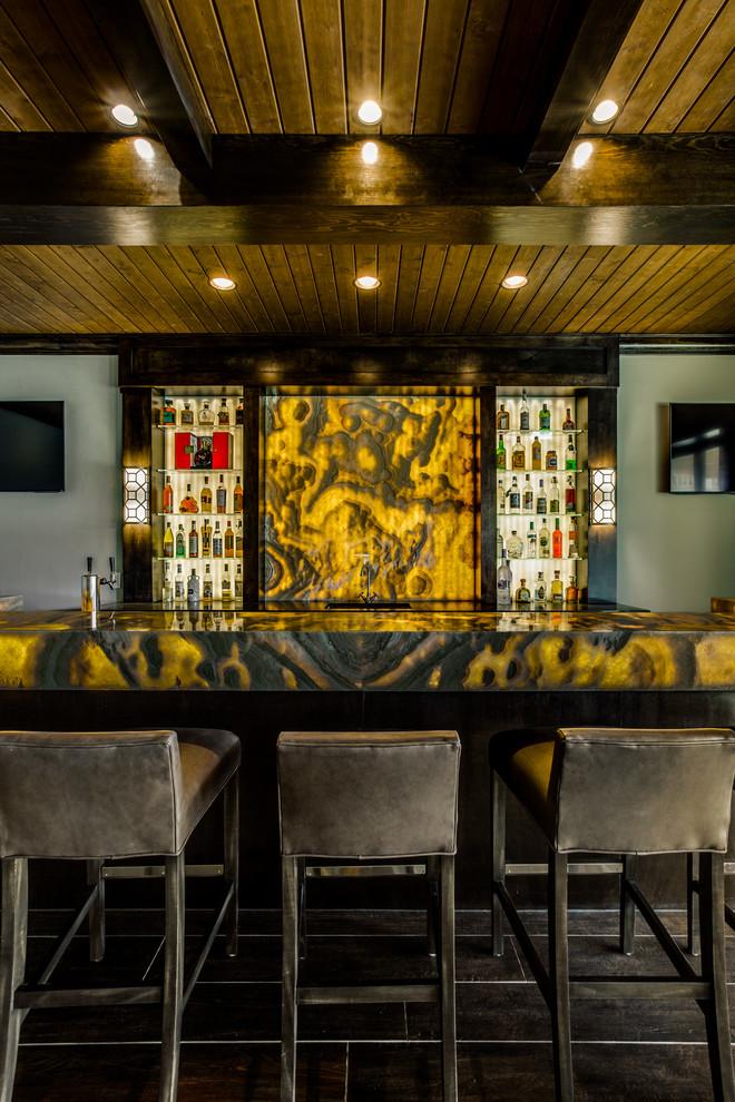 Backlit Onyx Nuvolato Bar - Contemporary - Home Bar ...