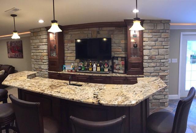 Ballwin Basement With Bar And Fireplace Craftsman Home