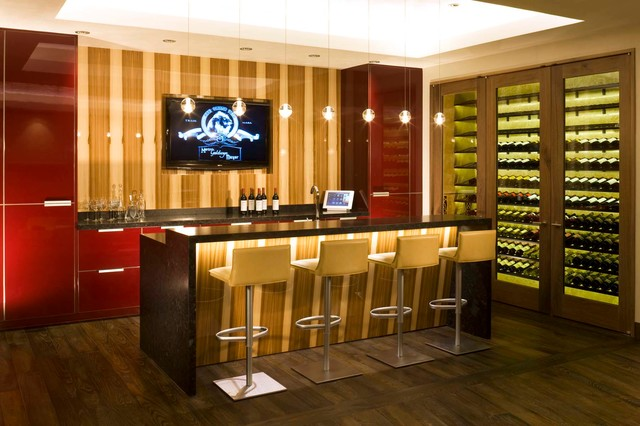 Bar and wine room contemporary home bar denver by - Bar para casa ...