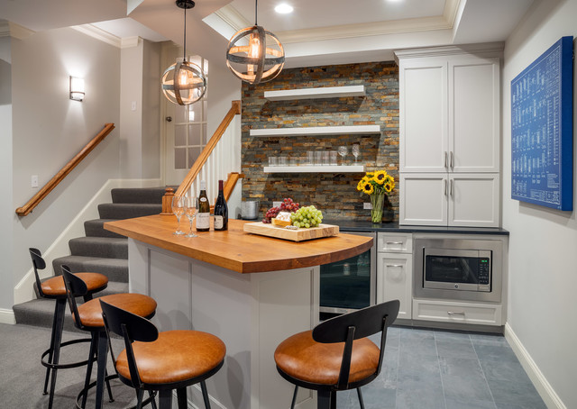 bar area transitional home bar boston by mitchell construction