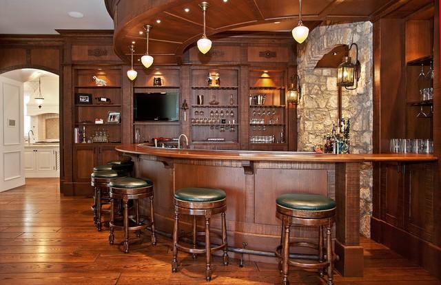 bar area traditional home bar