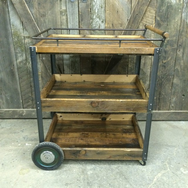 Bar Cart Industrial Home Bar Vancouver By J S Reclaimed Wood Custom Furniture Millwork
