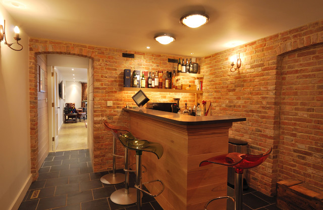 Barn Conversion With Basement Kent Uk Contemporary Home Bar London By Vernacular Homes