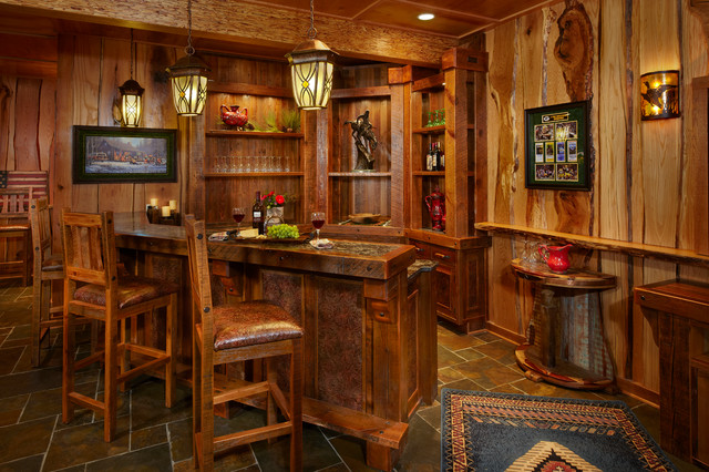 Example Of A Large Mountain Style U Shaped Slate Floor Seated Home Bar  Design In