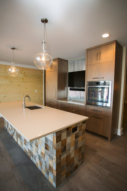 Example of a trendy home bar design in Indianapolis