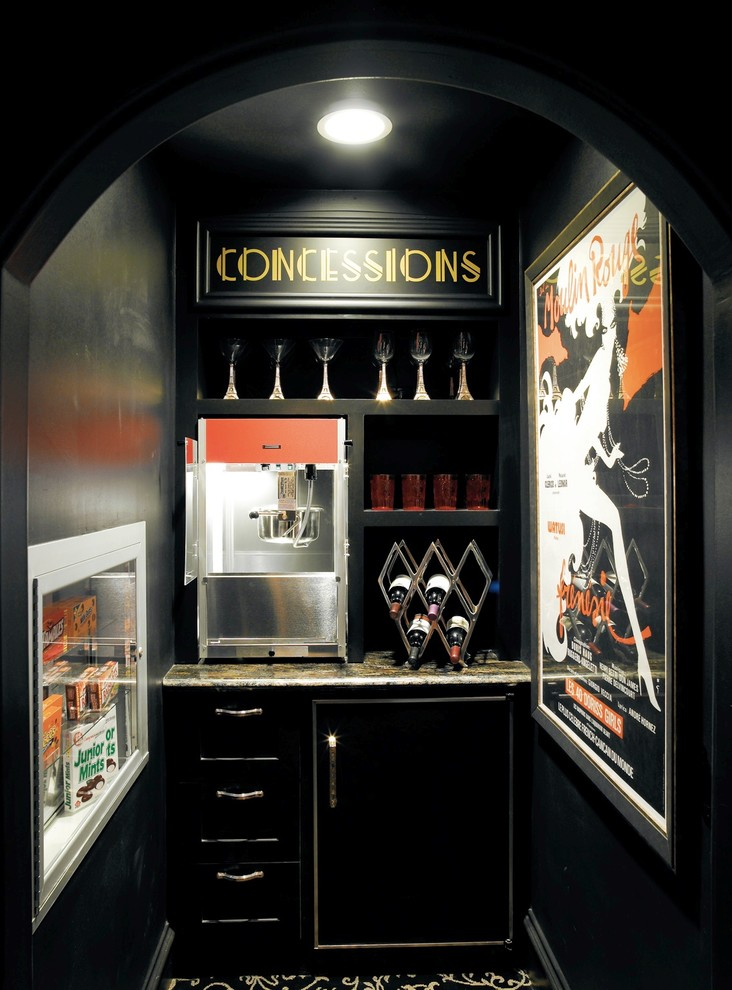 Inspiration for an eclectic home bar remodel in Houston with black cabinets