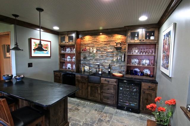 basement bar area transitional home bar