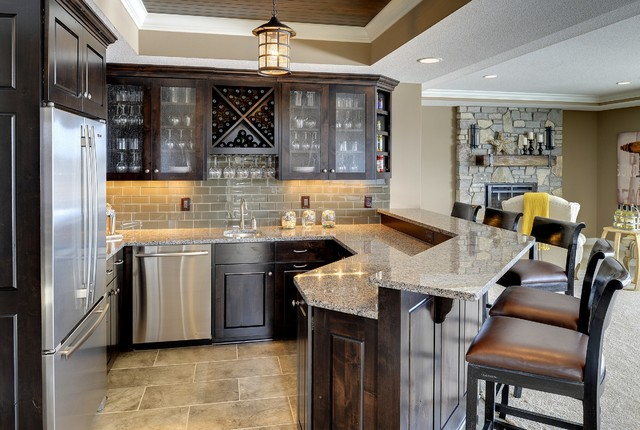 Basement Bar   Kintyre Model   2014 Spring Parade Of Homes Traditional Home  Bar