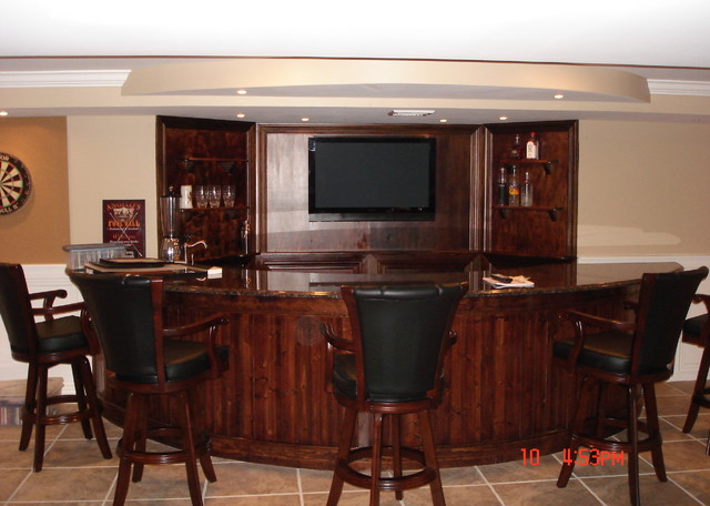 Basement bar tv installation traditional home bar for Home bar installation