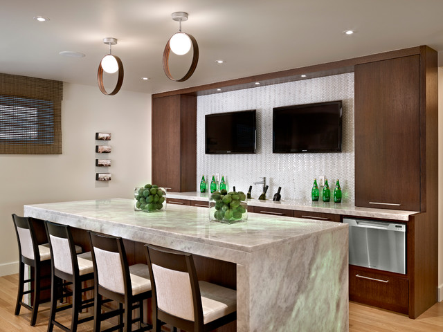 Basement Bar Contemporary Home Bar