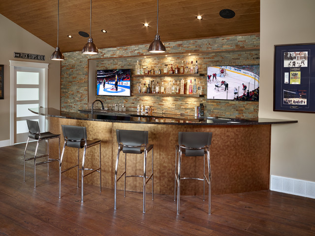 Basement sports bar contemporary home bar edmonton for Modern home decor edmonton