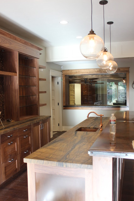 Inspiration for a large transitional single-wall medium tone wood floor wet bar remodel in Salt Lake City with open cabinets, light wood cabinets and multicolored backsplash