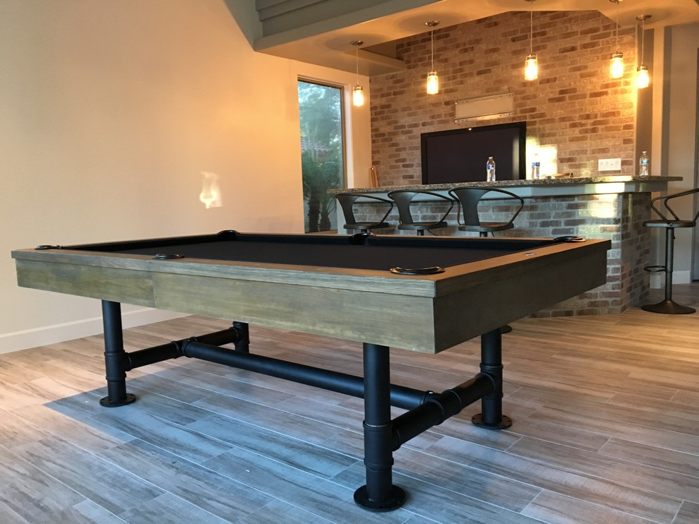 Bedford Pool Table With Dining Top Option Industrial Home Bar Phoenix By Prestige Billiards Gamerooms