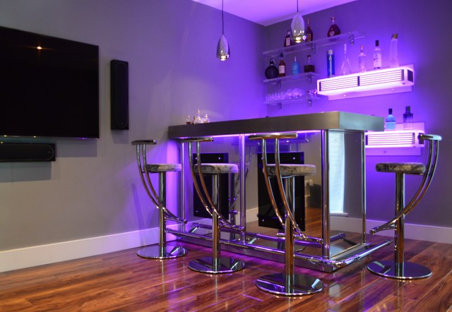 Bespoke Corner Bar In Stainless Steel With Illuminated Back Shelving Home Surrey