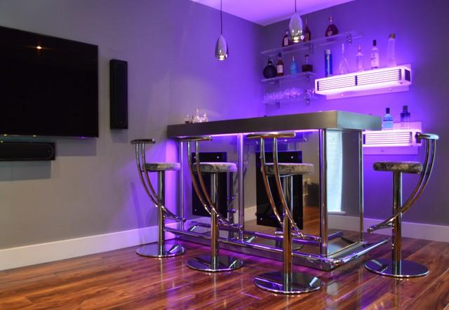 Bespoke Corner Bar In Stainless Steel With Illuminated
