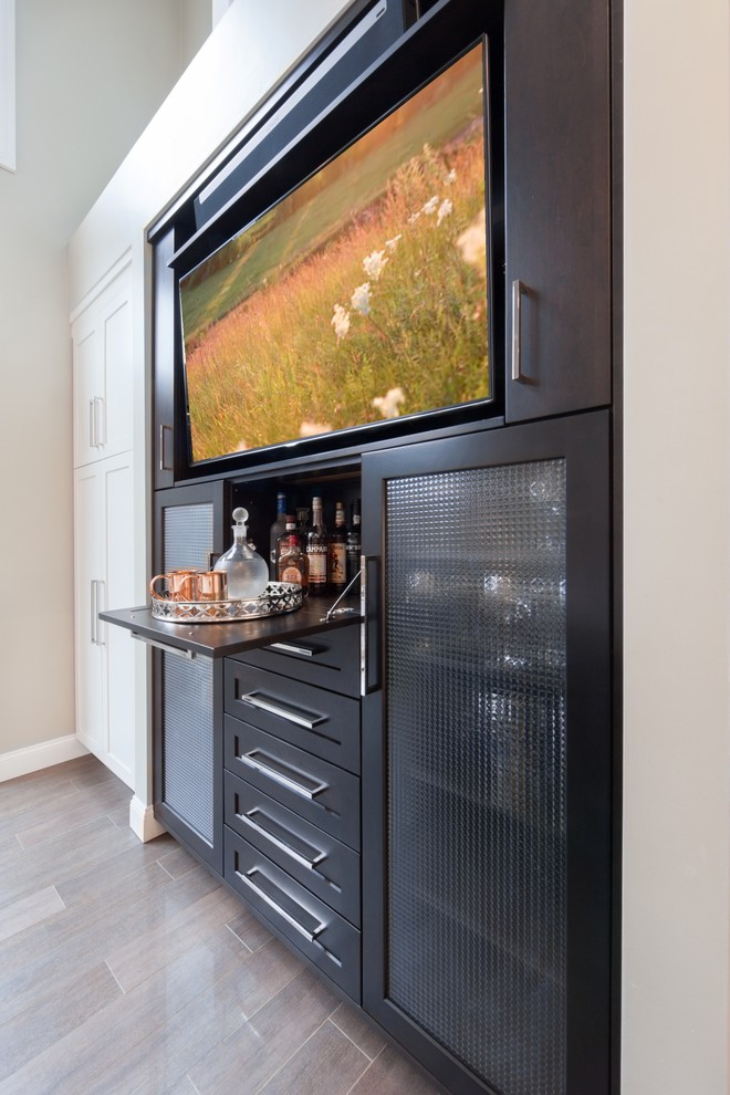 Home bar - small transitional porcelain floor home bar idea in Boston with black cabinets and shaker cabinets