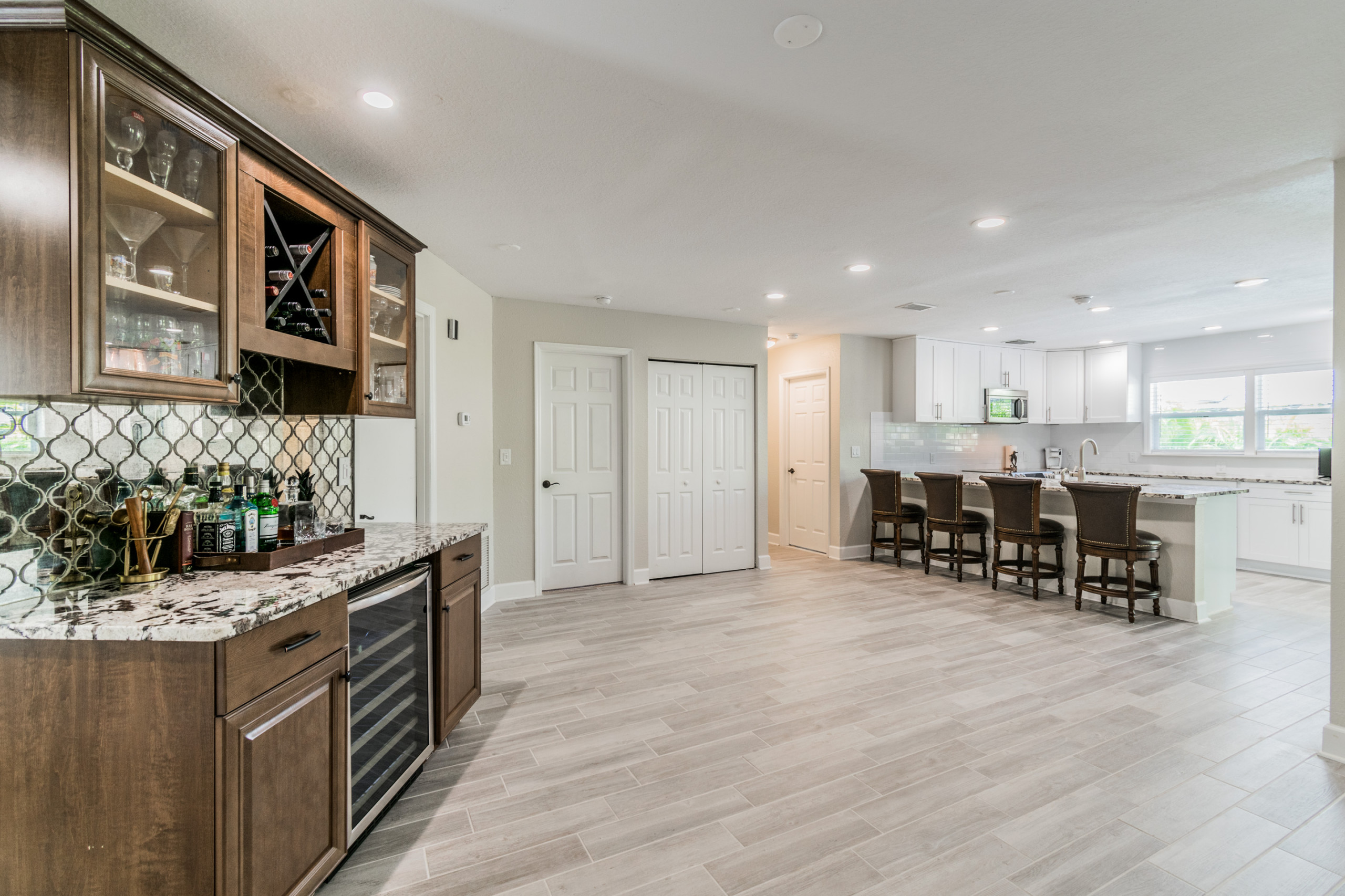 Built in bar with wine refrigerator