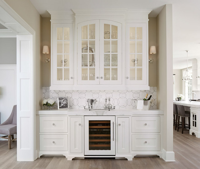 Home Bar Design Ideas Houzz: Butler's Pantry With Glass Doors