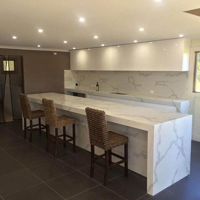 Calacatta Classique Contemporary Home Bar Orange County By M S International Inc