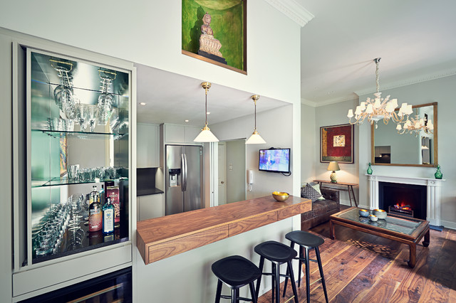 Transitional Galley Medium Tone Wood Floor Seated Home Bar Photo In London With Open Cabinets