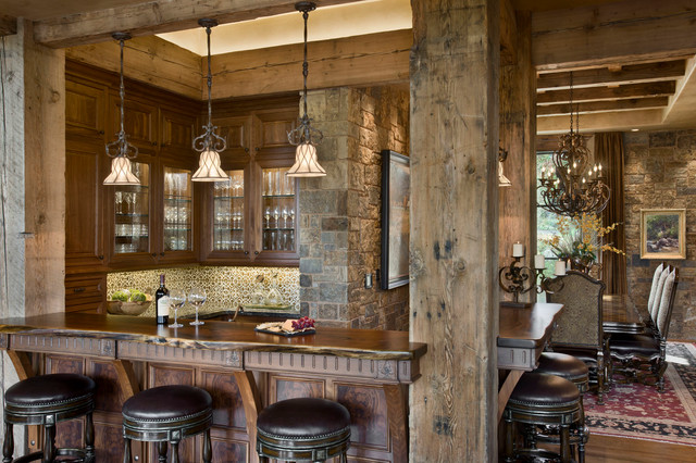 Chimney rock residence rustic home bar other metro by locati architects - Using stone in rustic gardens elegance and drama ...
